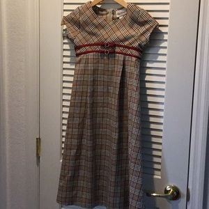 GIRLS SIZE 7 LONG PLAID DRESS RARE EDITIONS